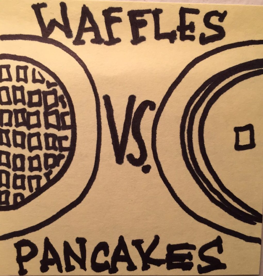 A yellow sticky note with a drawing of waffles and pancakes.