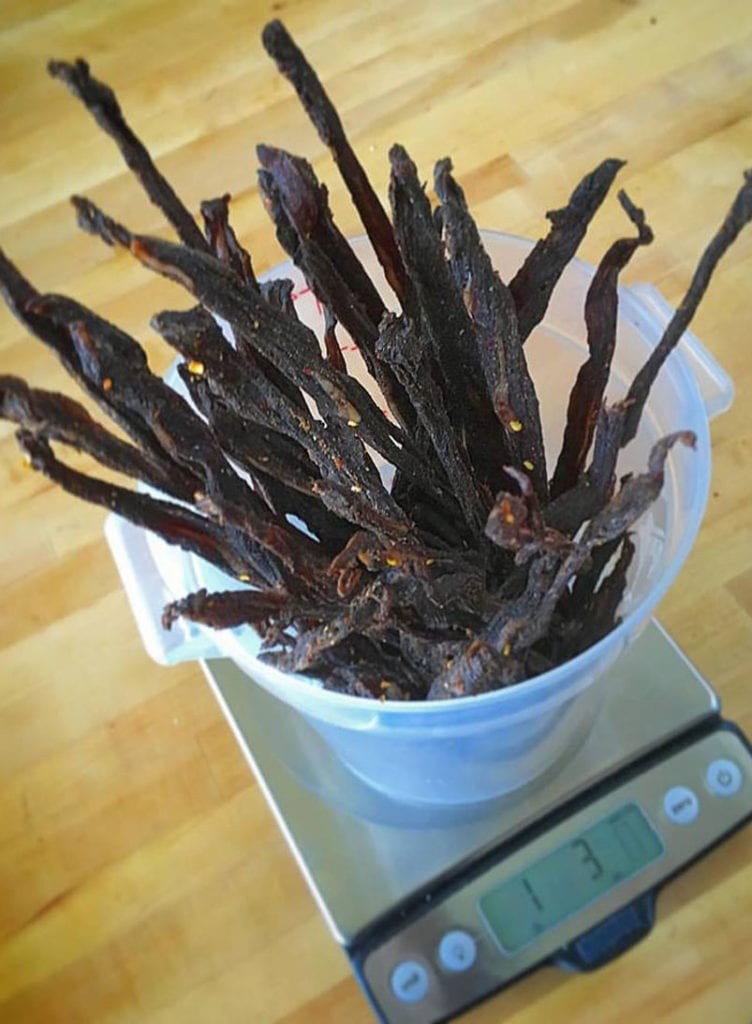 homemade beef jerky in a plastic container
