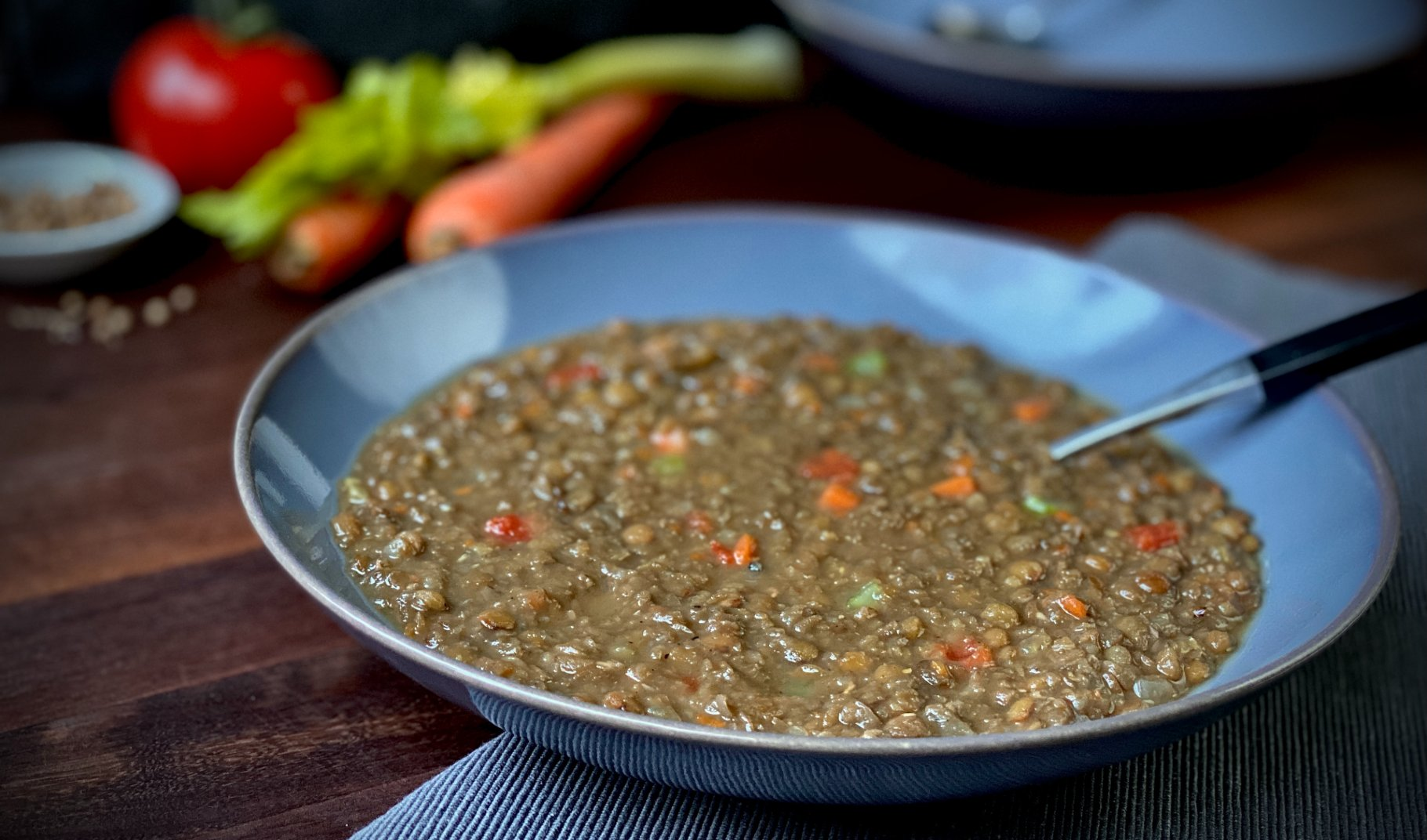 A bowl of lentil soup.